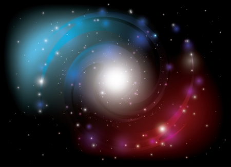 galactic center: colorful spiral galaxy Illustration