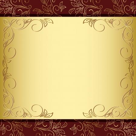 花のフレーム ベクトルの金と茶色の背景 -