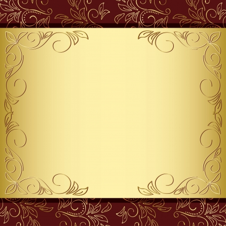 floral frame with gold and brown background - vector Illustration