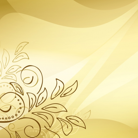 gold background with floral elements in the corner Stock Vector - 13871400