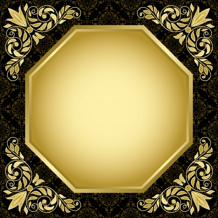 gold corner: black vintage card with gold decorations  Illustration