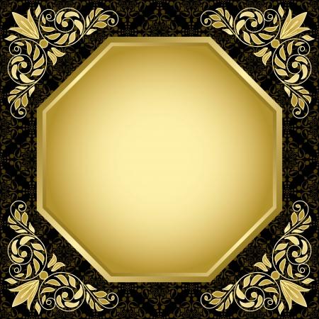 black vintage card with gold decorations  Illustration