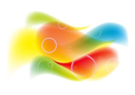 波や泡と抽象的なカラフルな背景  イラスト・ベクター素材