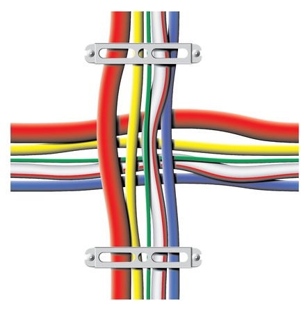 connexion: color cables with brackets - vector