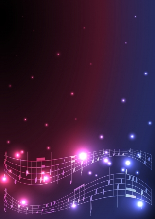 flyer with musical notes - vector