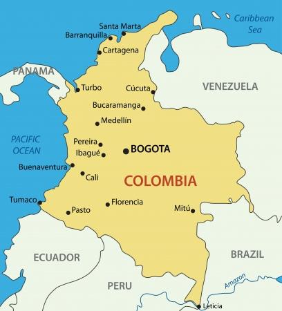 -コロンビアの共和国を地図します。