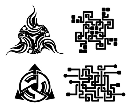 occult: black elements for design - vector tattoo Illustration