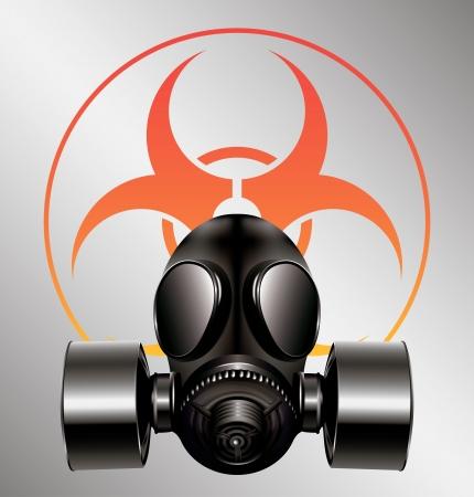 máscara de gas negro con el símbolo de riesgo biológico Ilustración de vector