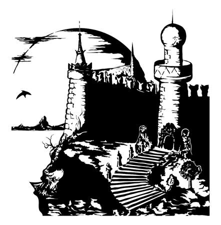 old dark gloomy castle  Stock Vector - 14181095