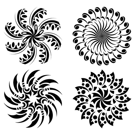 set of round black design elements Vector