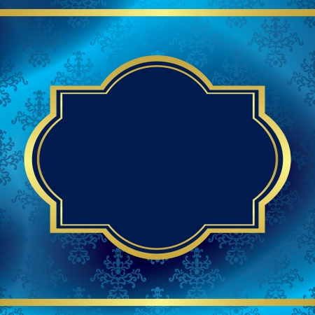 dark blue background with gold frame and pattern Vector
