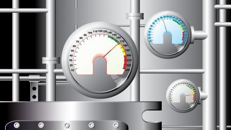 sensores: sensores de medici�n y tuber�as - ilustraci�n del vector industrial: