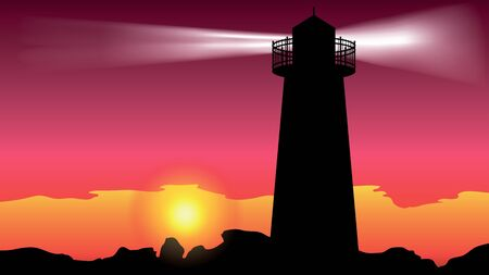 lighthouse on the coast - vector illustration Vector