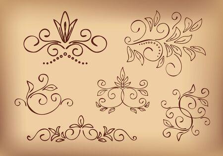brown floral design elements - vector set Vector