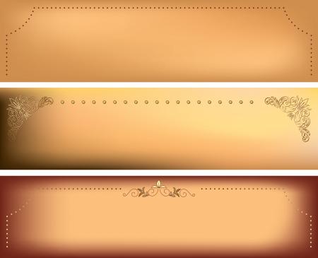 dark beige: beige horizontal backgrounds with decorative frames - vector set Illustration