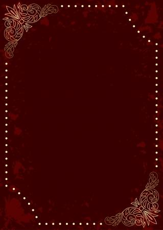 暗い赤縦型カード ゴールドの装飾的なフレーム - とベクトル