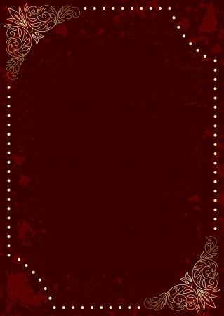 dark red vertical card with gold decorative frame - vector Vector