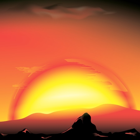 mountain sunset: red sunset with silhouette of mountains Illustration