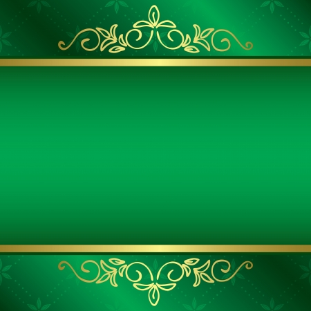 green and yellow: bright green card with floral gold decorations  Illustration