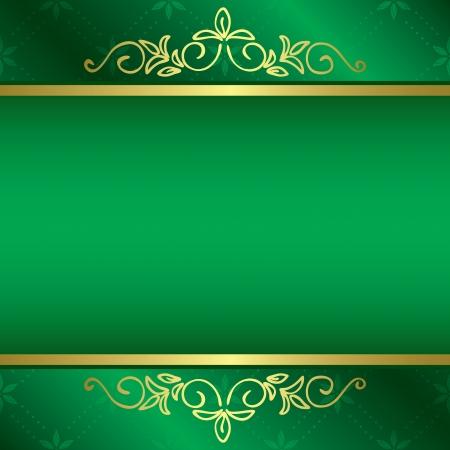 gold decorations: tarjeta de color verde brillante con adornos florales de oro