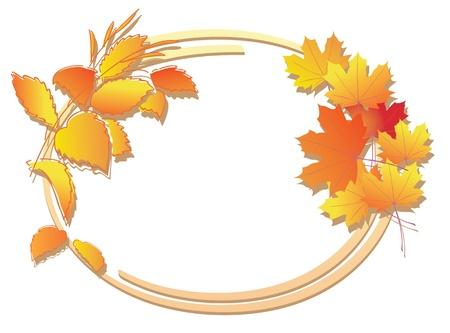 oval frame: bright autumn floral frame - vector
