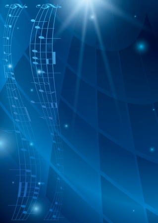 flyer musique: abstrait musique verticale - flyer vecteur bleu Illustration