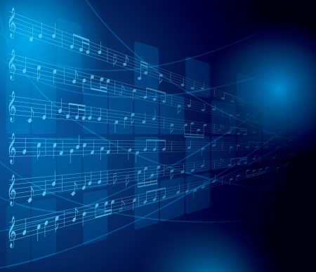 music figure: blue musical background with notes and squares