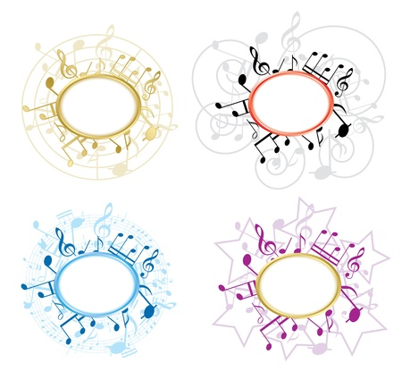 music figure: music oval frames with notes  Illustration