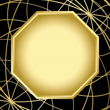 black and gold card with center frame  Vector