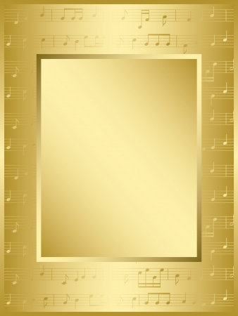 golden key: bright gold frame with music notes