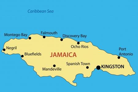 zeměpisný: Commonwealth of Jamaica - vektorová mapa