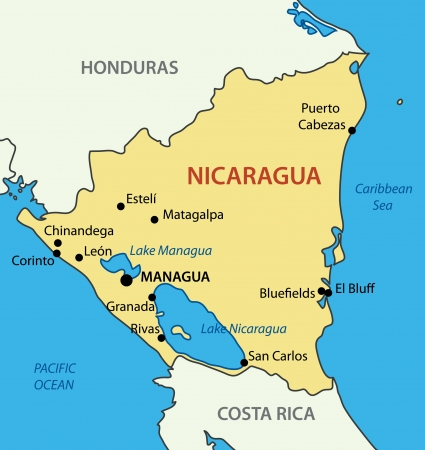 ニカラグア共和国 - ベクトル マップ  イラスト・ベクター素材