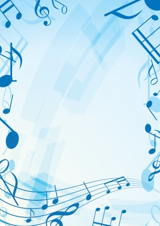 musical event: abstract music background - blue frame