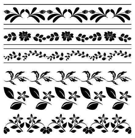 bordures fleurs: bordures de fleurs - entrelacs noir Illustration