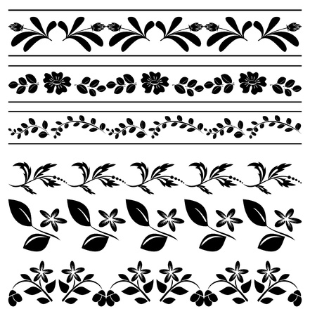 floral  borders - black tracery Stock Vector - 15129419