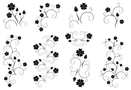 set of vector decorative floral elements Stock Vector - 15170045