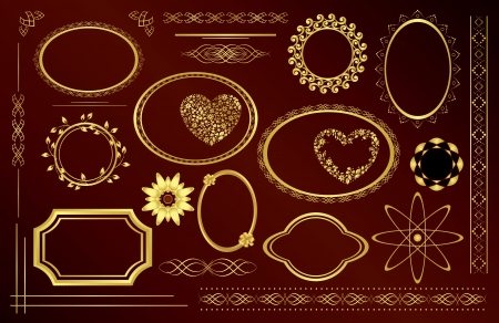 gold decorative frames - vector set Vector