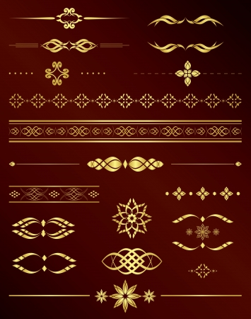gold vintage elements for design Vector