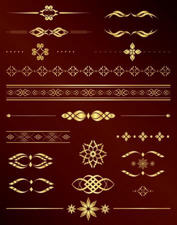 separator: gold vintage elements for design Illustration