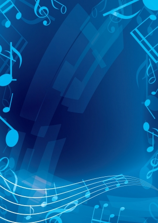 vertical composition: abstract blue music background Illustration