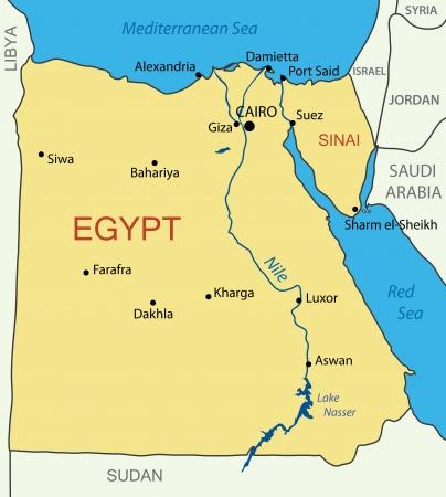 エジプト ・ アラブ共和国地図します。  イラスト・ベクター素材
