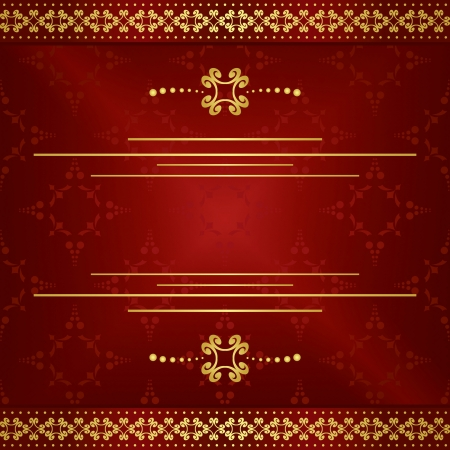 bright dark red elegant card with gold decorations  Vector