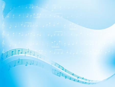 明るい青の抽象的な背景 - 音楽ノート
