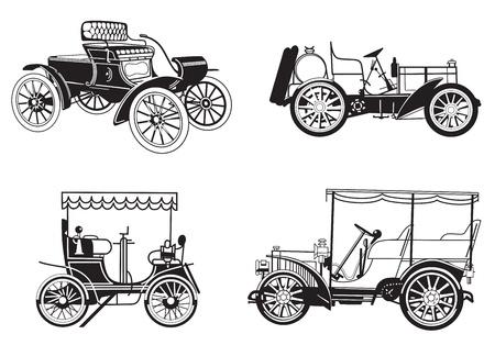 レトロな自動車のベクトルを設定  イラスト・ベクター素材