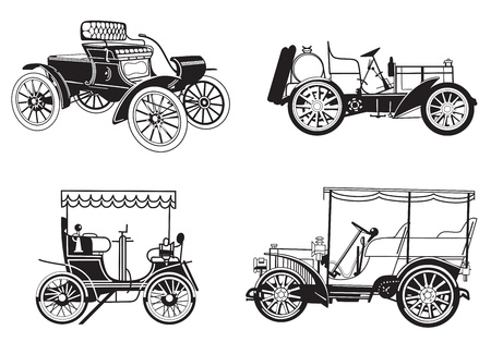 mercedes: vector set of the retro automobiles Illustration