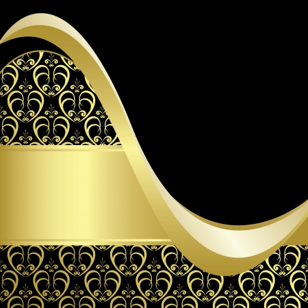 curved line: black and gold bright card with gold pattern  Illustration