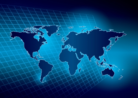 gradient  blue: bright abstract blue background with map of the world
