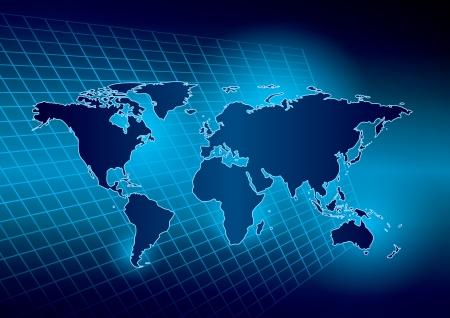 wall maps: brillante fondo abstracto azul con el mapa del mundo Vectores