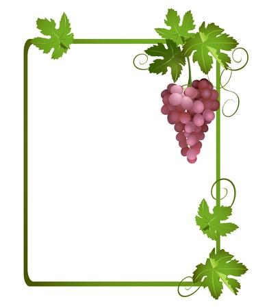 ブドウの房を持つ緑のフレーム