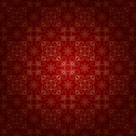 red beautiful vintage background with gold ornament Vector